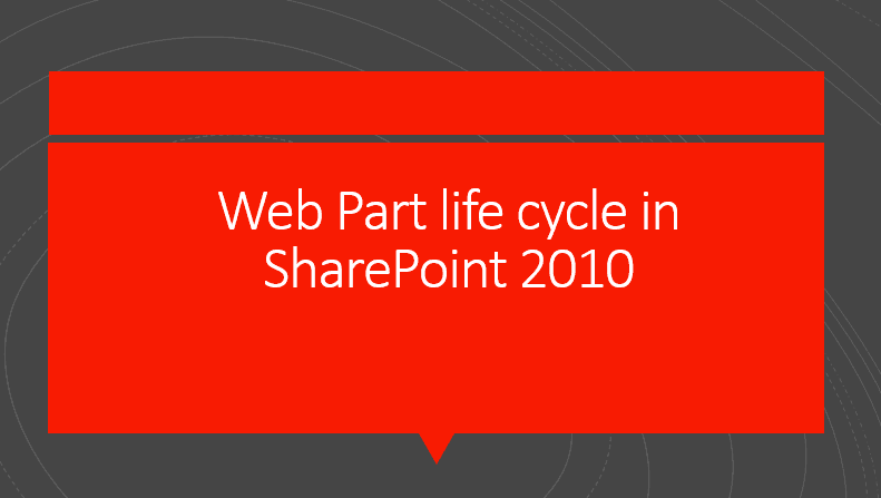 Web Part life cycle in SharePoint 2010