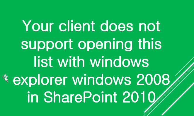 Your client does not support opening this list with windows explorer windows 2008 in SharePoint 2010