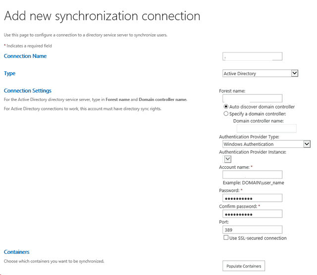 Create user profile synchronization connection in SharePoint 2013