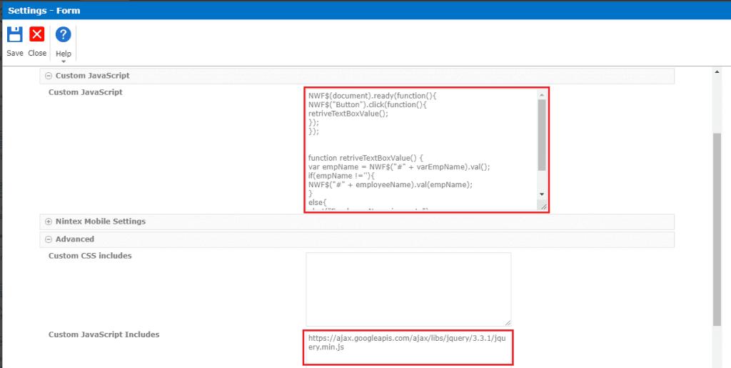 Add Custom JavaScript in Nintex forms