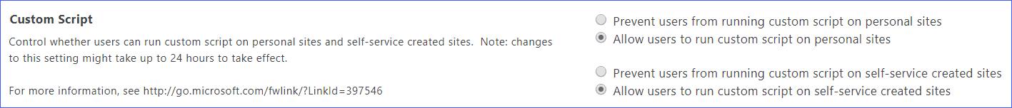 SharePoint Online enable custom script