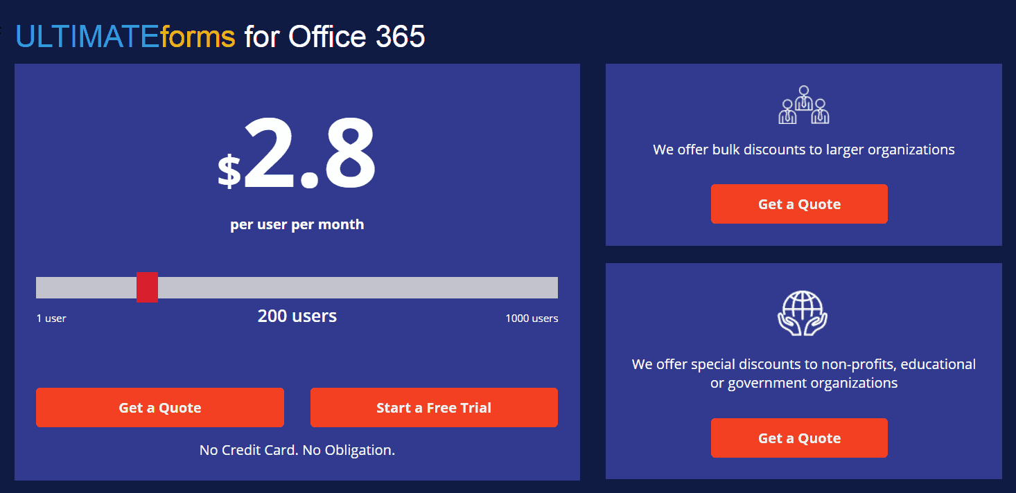 Infowise ultimate forms for Office 365 pricing details