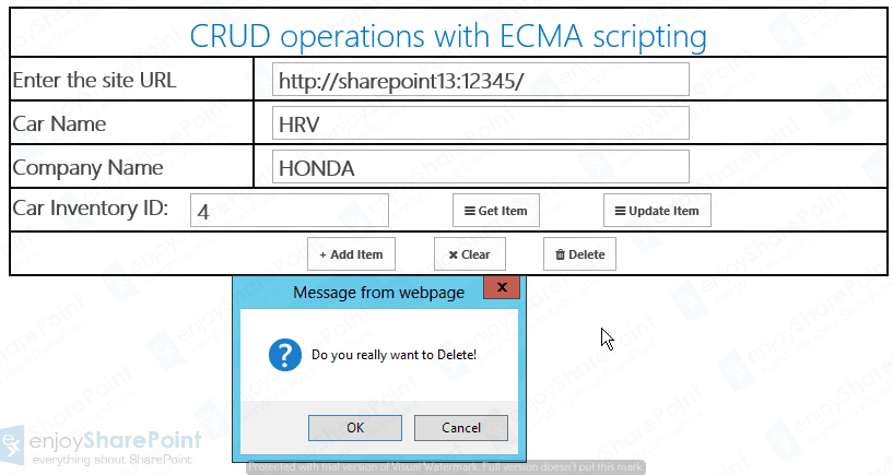 crud operations in sharepoint list using jsom