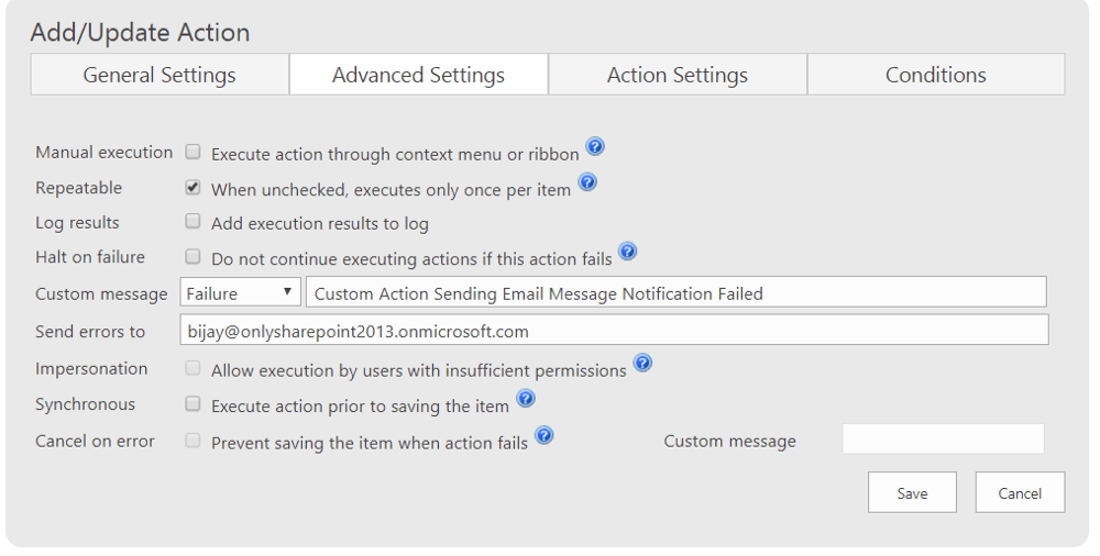 Configure EMail Infowise ultimate forms action