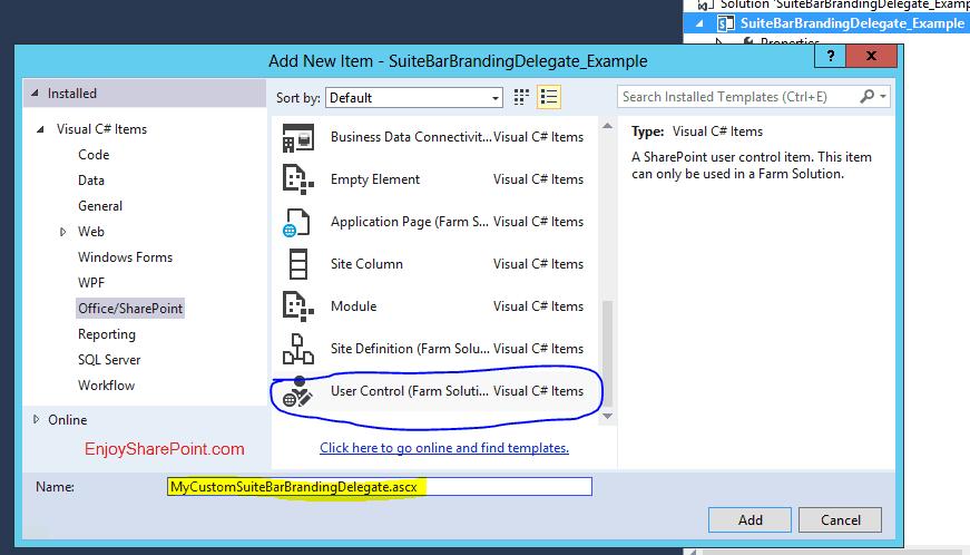 Custom SuiteBarBranding Delegate Control