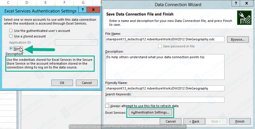 Excel Service to import External DB Using Secure Store connection in sharepoint 2013