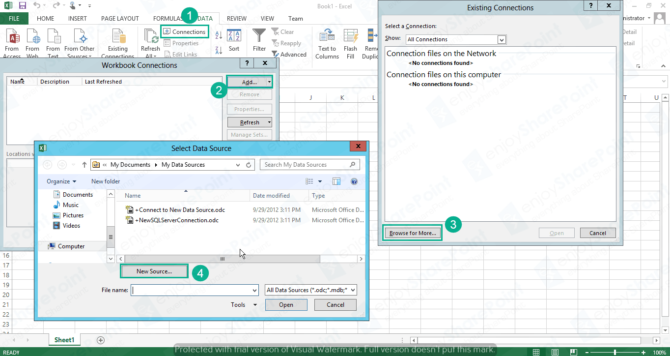 excel services to import external data