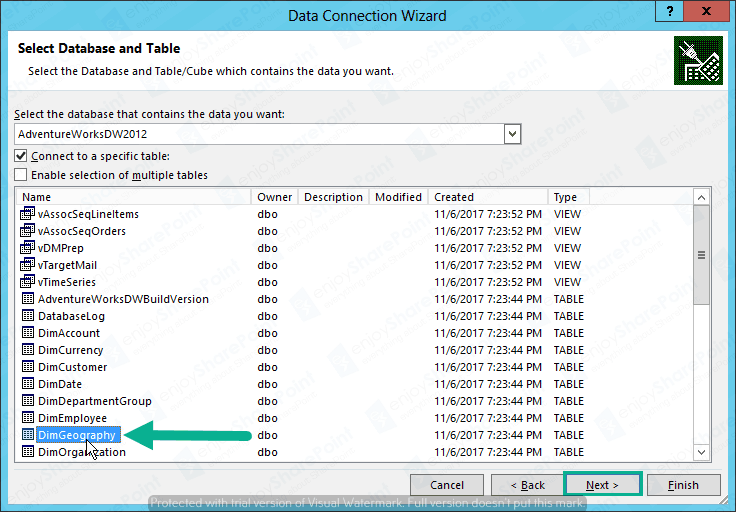 Excel Service to import External DB tutorial