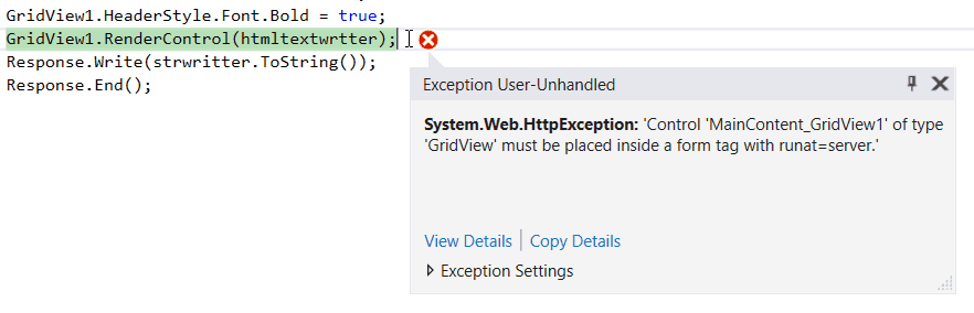 GridView must be placed inside a form tag with runat server