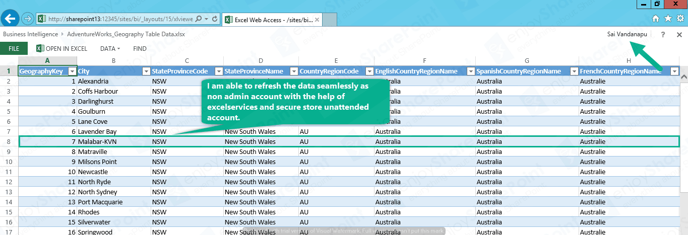 Implement Excel Service to import External DB Using Secure Store connection