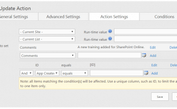 Infowise update action settings