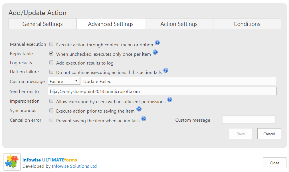 Infowise ultimate forms advanced settings