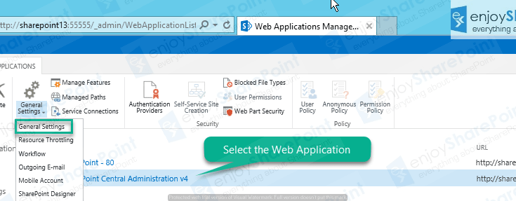 Manage Web Application Settings in SharePoint 2013