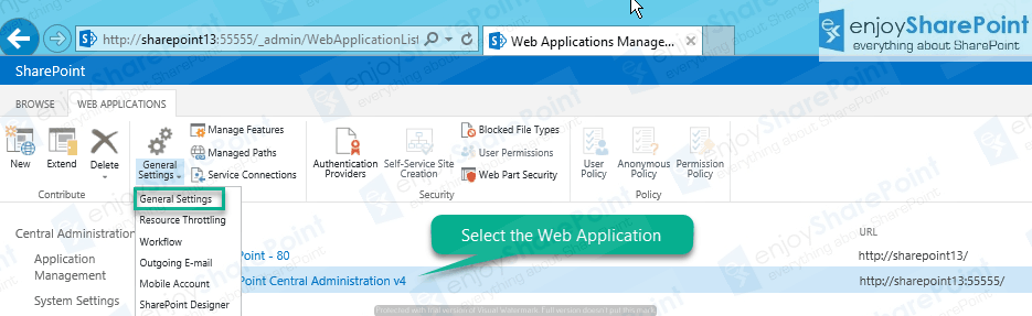 sharepoint 2013 web application settings