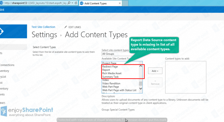 Report Data Source content type sharepoint 2013