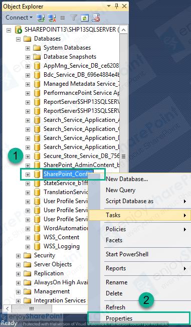 SHRINK SharePoint Config DB log file