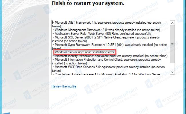 SharePoint 2013 Setup AppFabric installation Error