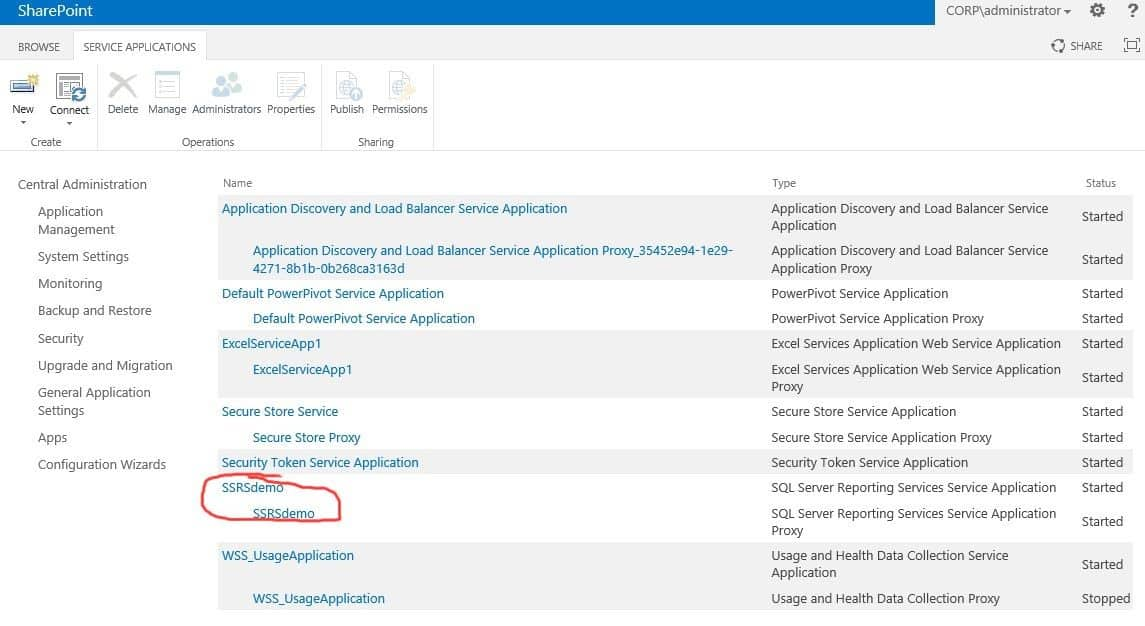 The SSRS service application proxy is not configured. Use the SSRS service application pages to configure the proxy