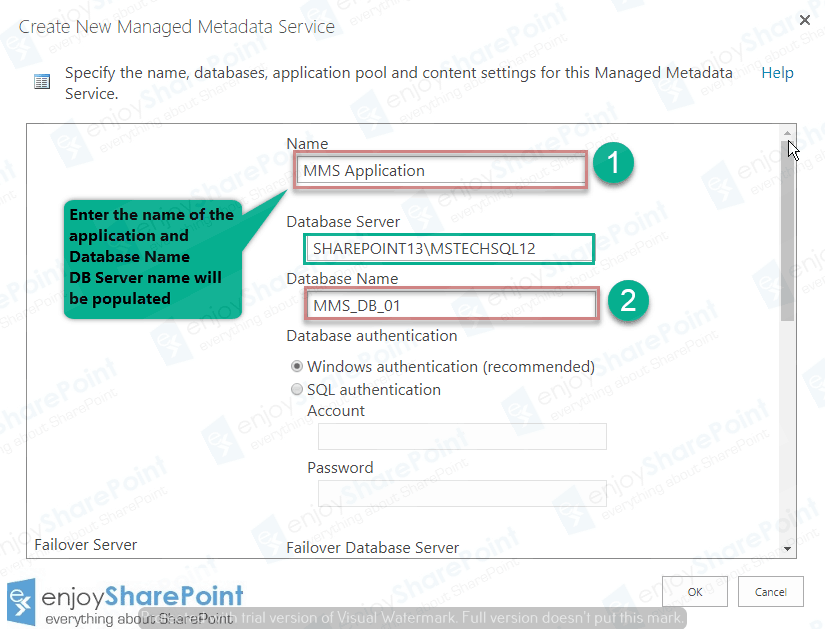 how to create managed metadata service application in sharepoint 2016