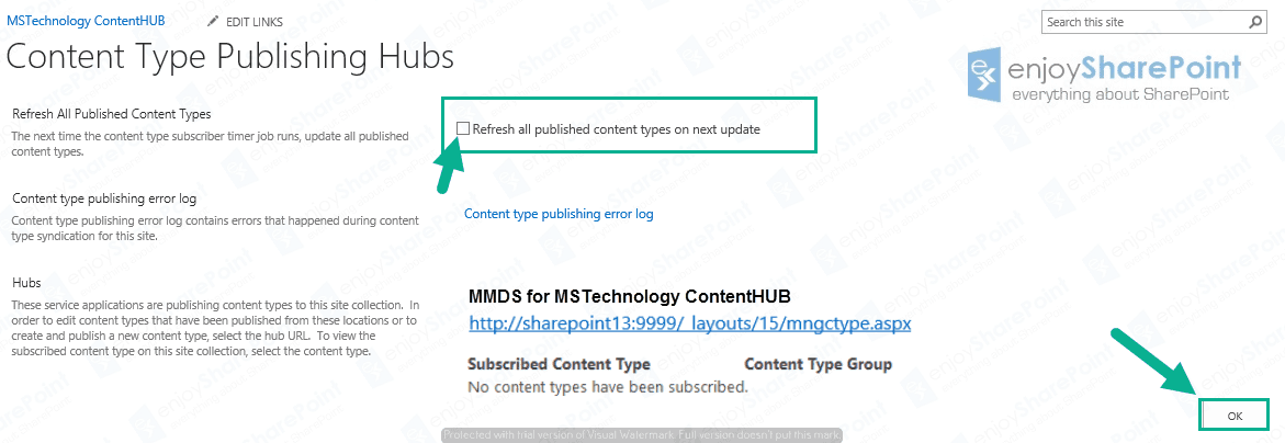 content type hub sharepoint 2016 online Tutorial