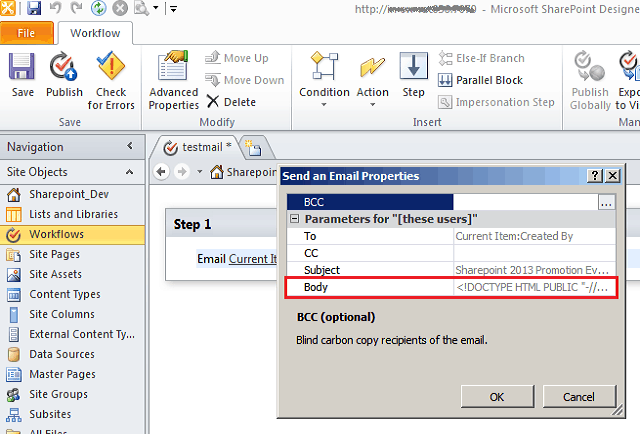 create HTML email message in SharePoint Designer 2013 workflow
