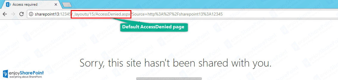 sharepoint 2016 customize access denied page