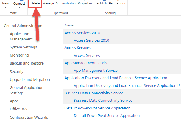delete corrupt service application sharepoint 2013