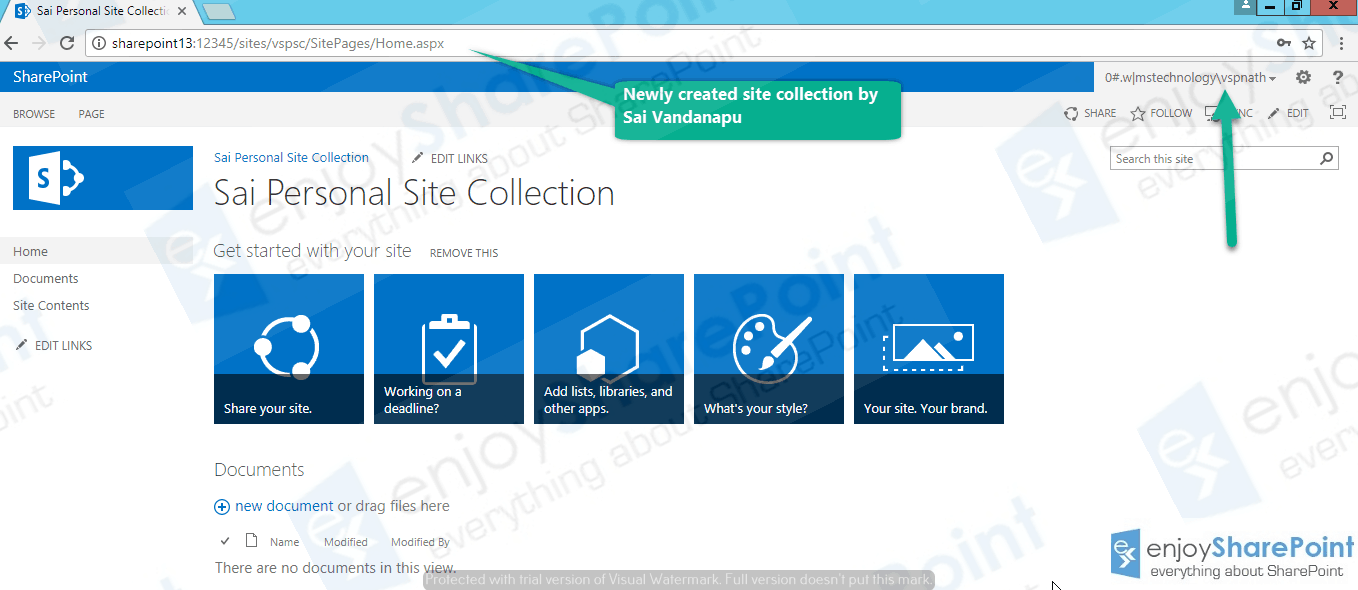enable self service site creation sharepoint 2016