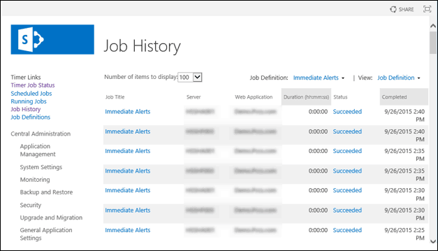 get timer job history powershell sharepoint