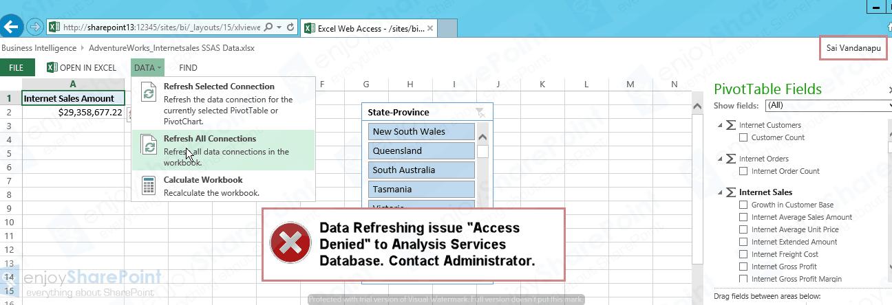 powerpivot data refresh error