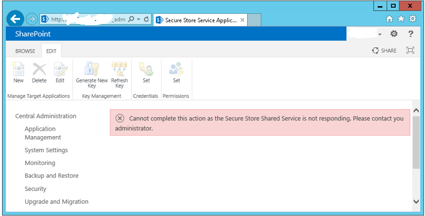 secure store shared service is not responding sharepoint 2013