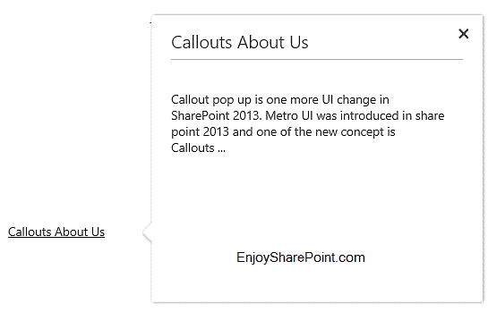 sharepoint 2013 custom callout