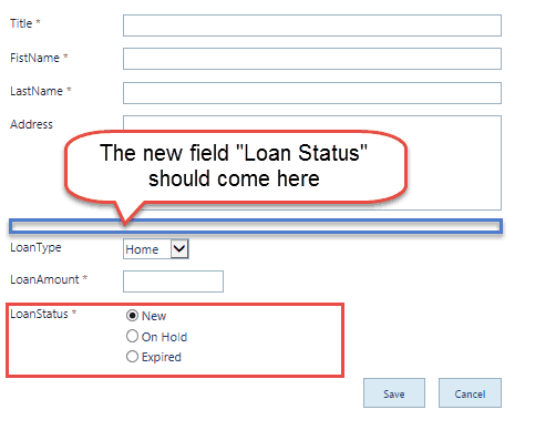 sharepoint 2013 change field order in form