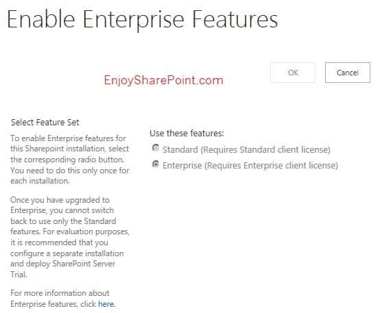 sharepoint 2013 enable enterprise feature