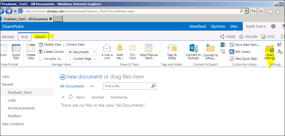 check sharepoint 2013 document library description