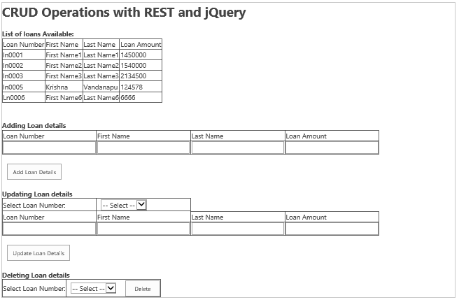 SharePoint 2016 crud operations using Rest API and jQuery on list or