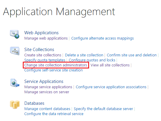 change site collection administrator sharepoint 2013