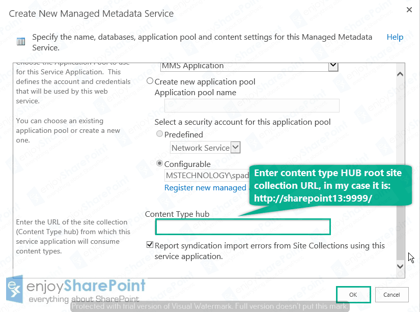 sharepoint 2016 content type hub limitations