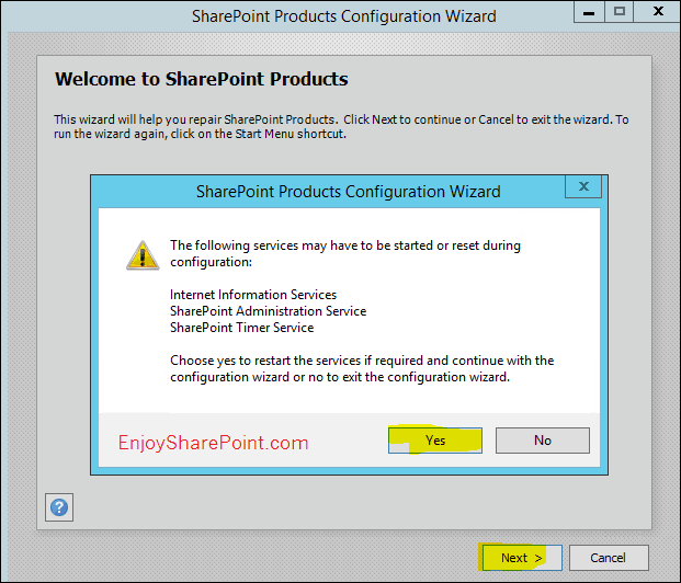 SharePoint 2016 Products Configuration wizard