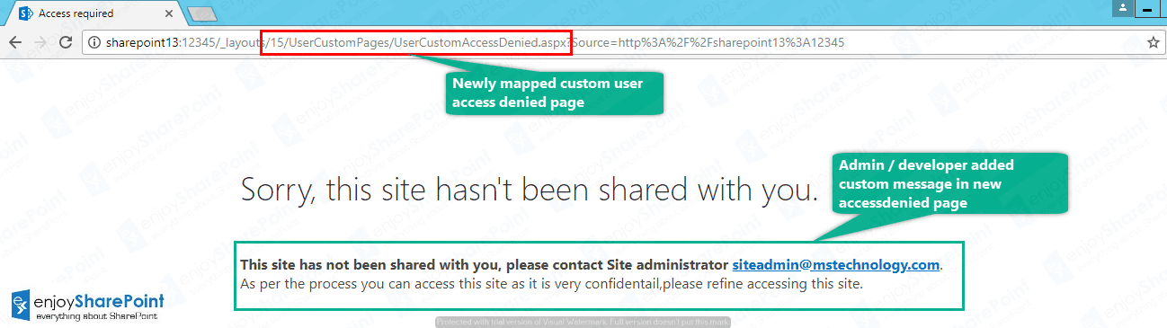 sharepoint online custom access denied page