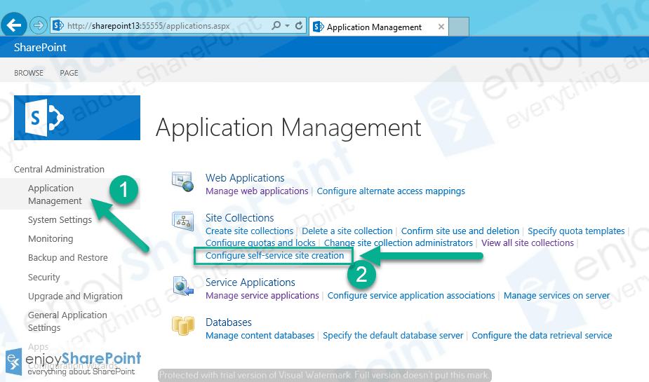 SharePoint 2016 Self-Service Site Creation
