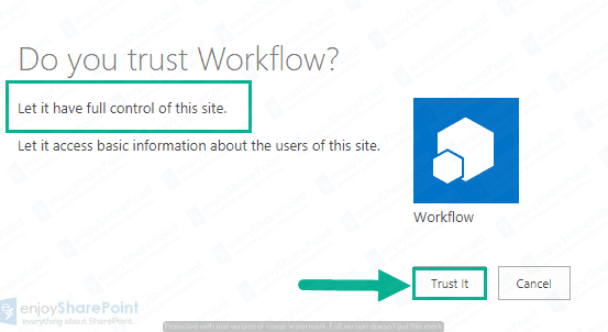 sharepoint online workflows can use app permissions
