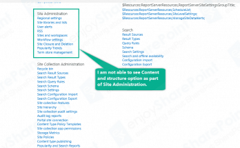 site content and structure sharepoint 2013