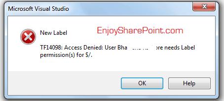 TF14098 Access Denied error in TFS