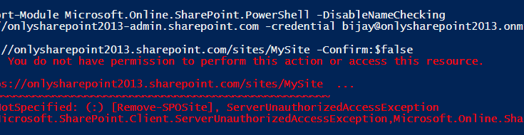 POowerShell online Remove-SPOSite Access denied