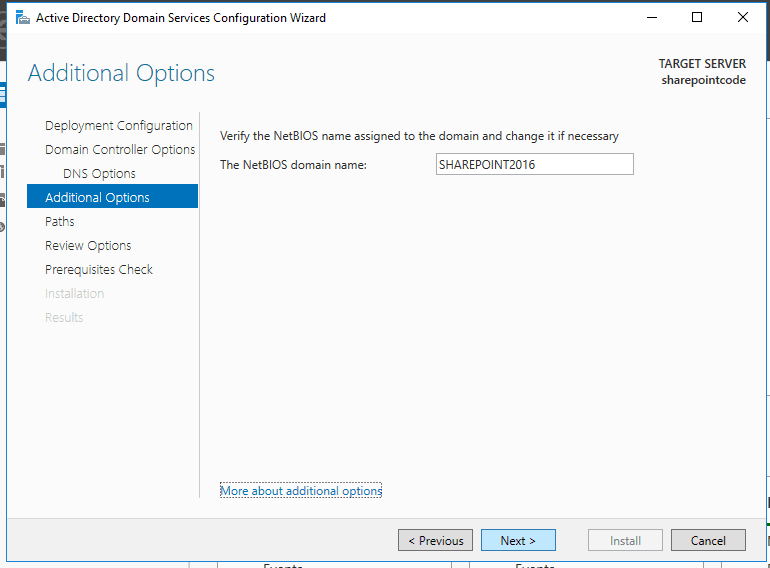 Active directory domain services in windows server 2016