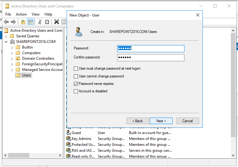 windows server 2016 active directory users and computers