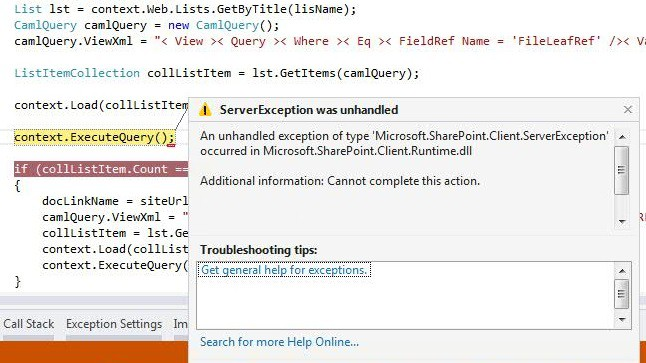 An unhandled exception of type Microsoft.SharePoint.Client.ServerException ocurred in Microsoft.SharePoint.Client.Runtime.dll