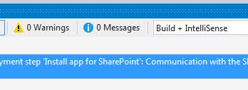 Error occurred in deployment step Install app for SharePoint