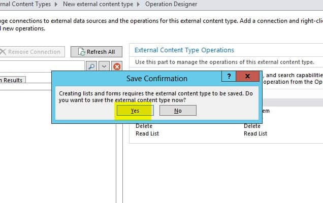 Create external content types for SQL Server in SharePoint 2013